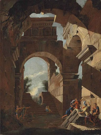 an architectural capriccio with figures amongst ruins by viviano codazzi