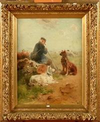 berger, son troupeau et ses chiens by henry schouten