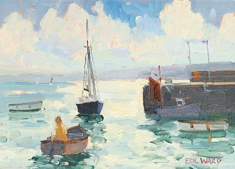 man in a boat st ives harbour by eric ward
