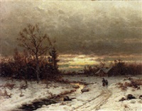 dusk on a snowy landscape by b. kreutzer
