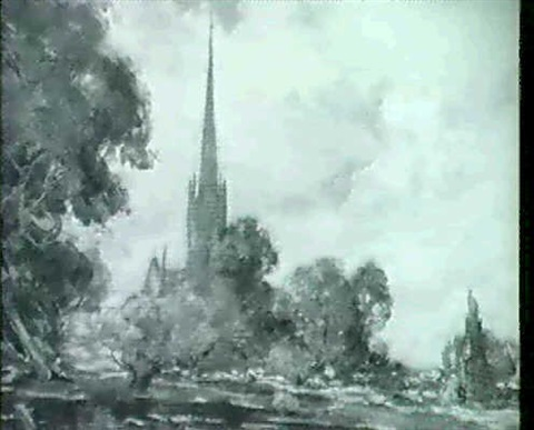 salisbury cathedral from the meadows by thomas william morley