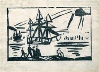 ship along the shore by lyonel feininger
