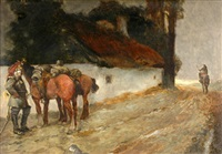 cottage with soldiers by bernhard h. fiedler
