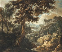 a wooded mountainous landscape with anglers and travellers on a track beside a river by antonio francesco peruzzini