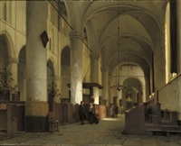 a sunlit church interior by jan jacob schenkel