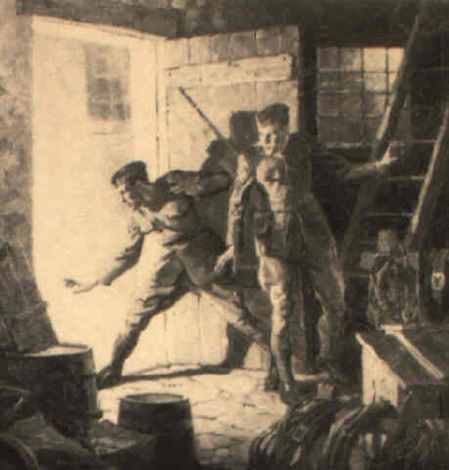 two soldiers hiding in shed by virgil e pyles