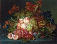 stilleben mit weintrauben, pfirsichen und vogelnest by amalie kaercher