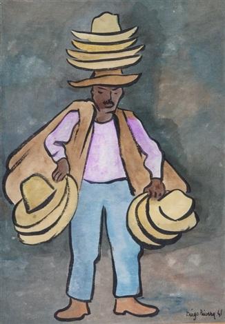 le vendeur de chapeaux by diego rivera