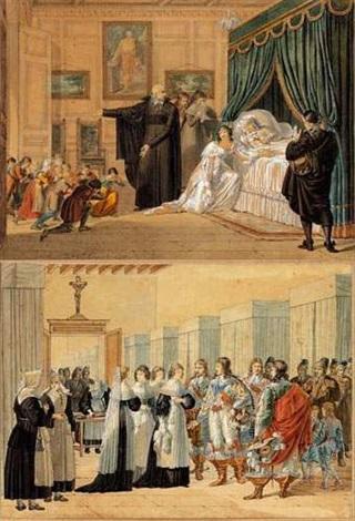 louise de marillac sur son lit de mort avec saint vincent de paul à ses côtés louise de marillac visitant un hôpital pair by hippolyte lecomte