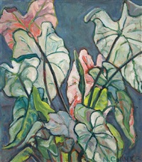 caladium leaves (+ plowed field (study), verso) by nora frances elisabeth collyer
