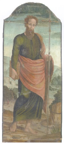 a male saint holding a cross a landscape beyond by raffaelino del garbo