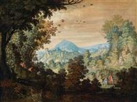 eine bewaldete landschaft mit jägern auf der hasenjagd by flemish school-antwerp (16)