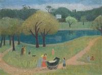 family on hampstead heath (+ 1 other, gouache; 2 works) by kathleen guthrie