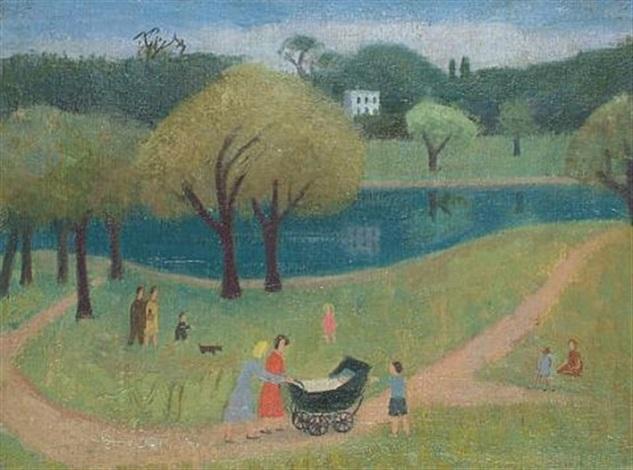 family on hampstead heath 1 other gouache 2 works by kathleen guthrie