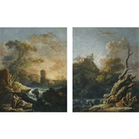 a landscape with figures by a waterfall at sunset, cattle in the stream beyond (+ a landscape with figures by a river, various sizes; pair) by carlo bonavia