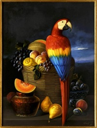 guacamaya con frutas by armando ahuatzi