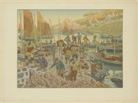 le port, pl. 1 (from au vent de noroît) by henri rivière