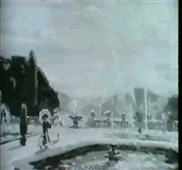 figures promenading on a terrace by a fountain, with parkland beyond by emily g. court