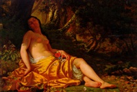 a maiden reclining in a wooded landscape by alfred charles foulongne