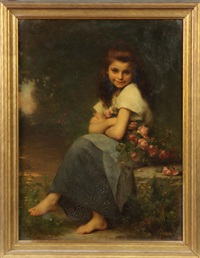young girl w/roses by jules cyrille cavé