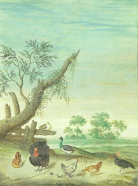 two turkeys, a peacock and three chickens in a panoramic landscape by margarethe de heer