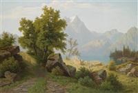 gebirgslandschaft mit alpensee by theodor (wilhelm t.) nocken
