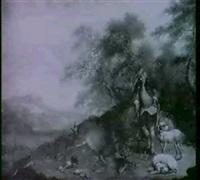 chasseur se tenant avec ses chiens, a cote du cerf abattu by jakob christian (christoph) seng