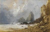 scène de tempête sur une côte avec des falaises, un bateau à l'horizon by gabriel hippolyte le bas