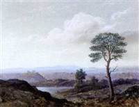 a loch bathed in the evening light by james nasmyth