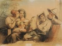 scène galante avec jeune femme au tambourin by françois joseph navez