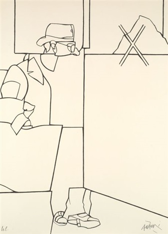 carte de visite chiron apprenant la lyre à achille et affiche avant la lettre pour bijou galerie 3 works by valerio adami