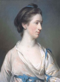 portrait of dorothea tucker (b. 1741), in a pale pink dress and blue shawl by francis cotes