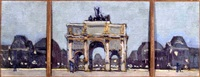sketches of the arc de triomphe and the champs-élysées (5 works, some smaller) by georges paul leroux