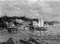 harbor view with sailing vessel, maine by franz lesshafft