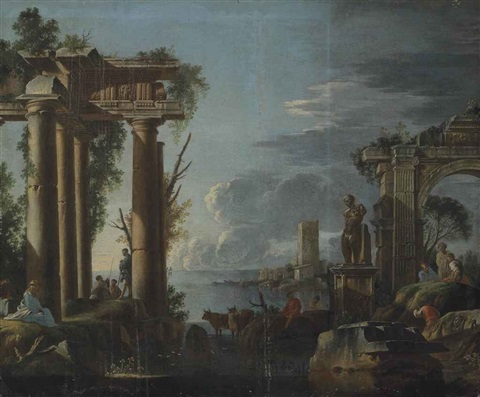 a capriccio of classical ruins with figures resting by the columns and others conversing houses on the sea shore beyond by giovanni paolo panini