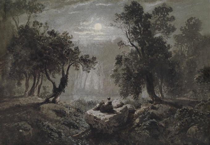 romantische waldlandschaft bei mondschein by oswald achenbach