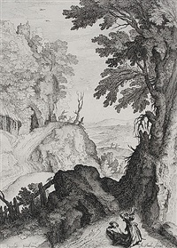 landschaft mit elias und dem engel (after paul bril) by andries jacobsz stock