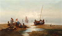 low tide (+ fishermen at sea; pair) by a. vescovi