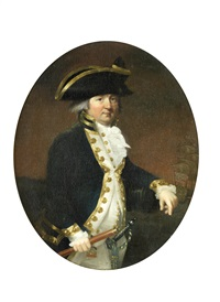 portrait of a gentleman, traditionally identified as admiral james dundas, three-quarter-length, in naval uniform by francis alleyne
