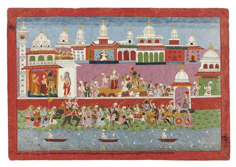 krishna leaving dwarka bhagavata purana series by anonymous nepalese 18