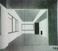 perspektivische ansicht eines wohnraumes by fritz schleifer