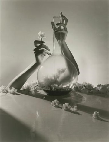 lisa hands with vase flowers by horst p horst