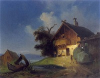 bauernhof am seeufer by carl august reinhardt