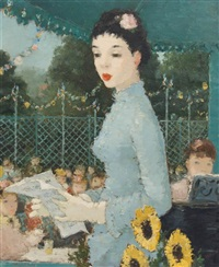girl with sunflowers by dietz edzard