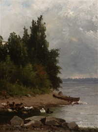 ducks & boat at water's edge by william raphael