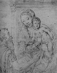 the madonna and child with a kneeling soldier holding a book by flaminio torre