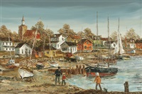 village scene with beached sailboats and children fishing by robert lebron