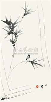 竹雀图 by liang zhanfeng