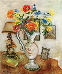 nature morte au vase de fleurs et à la lampe by isaac antcher
