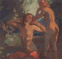haveexterior med to nogne kvinder by carl forup